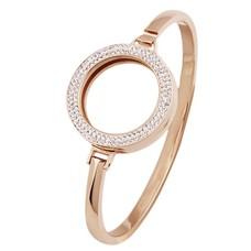 Armband voor munten Armband Rose goudkleurig smal met strass van Roestvrij Staal