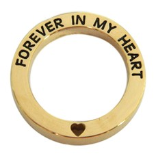 Floating locket  discs Memory locket open disk forever in my heart goudkleurig large