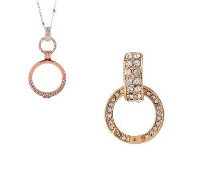 Accessoires Muntketting Spring clasp dangle goudkleurig full strass