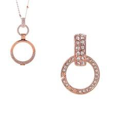 Accessoires Muntketting Spring clasp dangle rose goudkleurig full strass