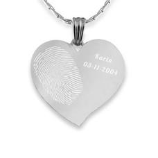 Vingerafdruk sieraad Vingerafdruk sieraad hart gebogen zilverkleurig