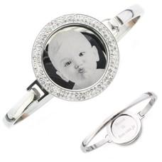 Armband met foto graveren Armband met foto graveren zilverkleurig strass