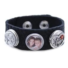 Foto Armbanden Clicks Foto armband moeder zwart met 2 clicks en 1 foto