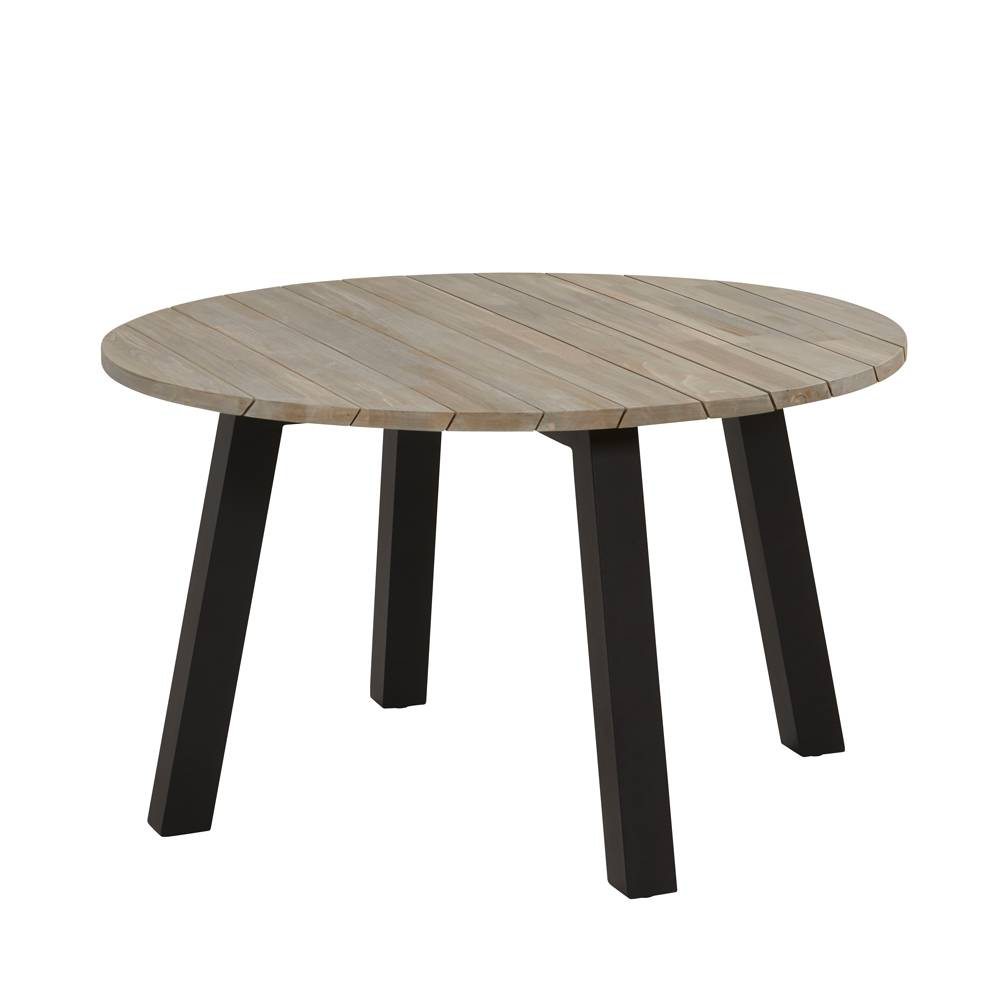 4 Seasons Outdoor Derby tafel Teak/Alu Ø130cm