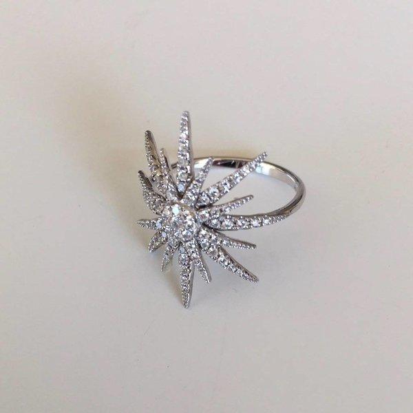 Ring Sonne aus Weißgold mit Diamanten