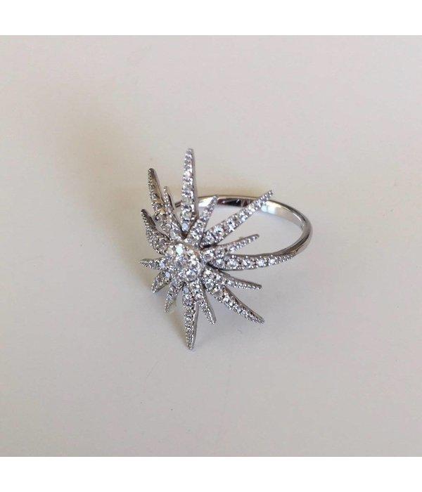 Djula Ring Sonne aus Weißgold mit Diamanten