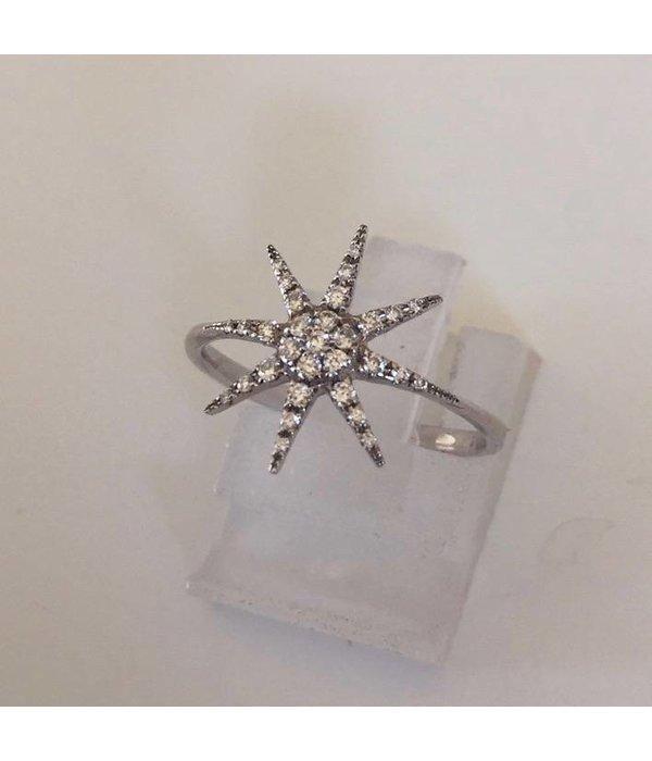 Djula Ring Stern aus Weißgold mit Diamanten