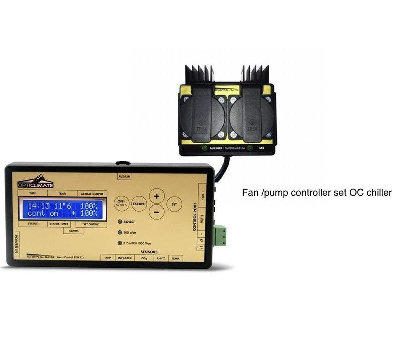 Ventilator / pompcontroller ingesteld voor OC Chiller