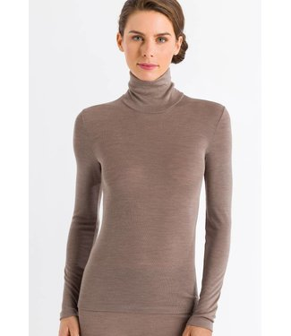 Woolen Silk Long Sleeve Turtle-Neck Vintage Taupe