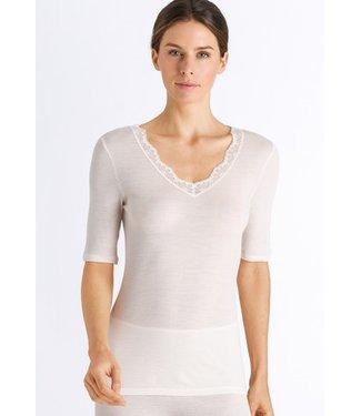 Woolen Lace Short Sleeve Shirt Vanilla