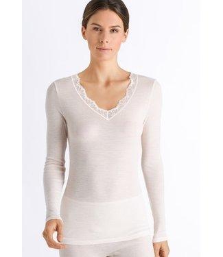 Woolen Lace Long Sleeve Shirt Vanilla