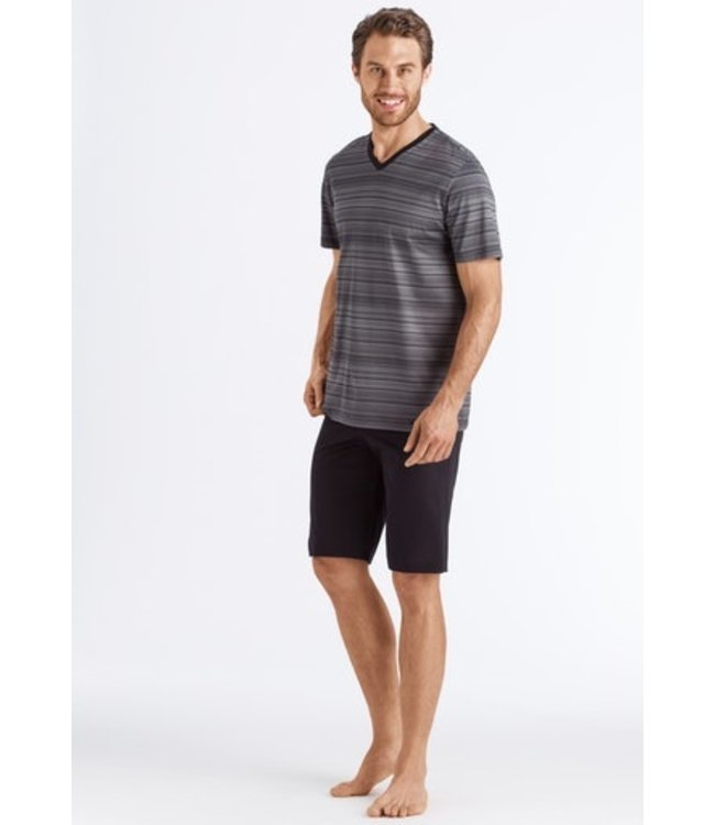 Hanro Darian Short Pajama Grey Stripe