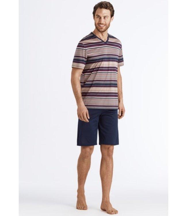 Hanro Darian Short Pajama Bordeaux Stripe