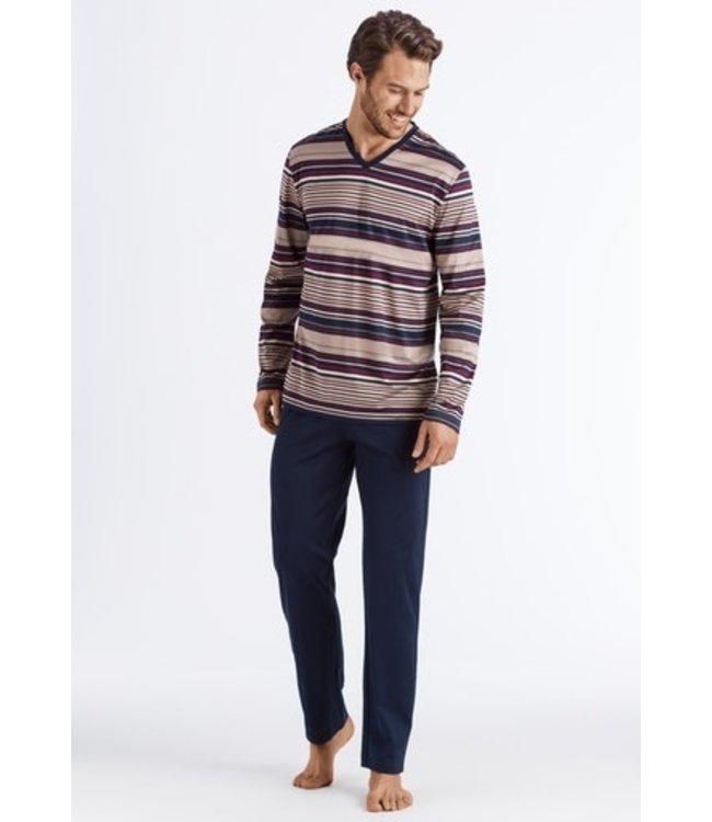 Hanro Darian Long Pajama Bordeaux Stripe (NEW)