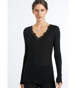 Woolen Lace Long Sleeve Shirt Black (NEW)