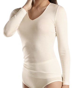Woolen Silk Long Sleeve V-Neck Cygne