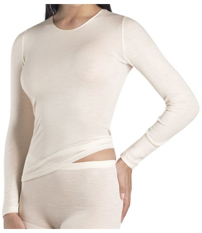 HANRO Womens Long Sleeve Shirt Pure Silk