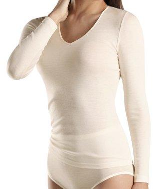 Woolen Silk Long Sleeve V-Neck