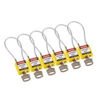Nylon Sicherheits-vorhängeschloss gelb mit Kabelbügel 146121