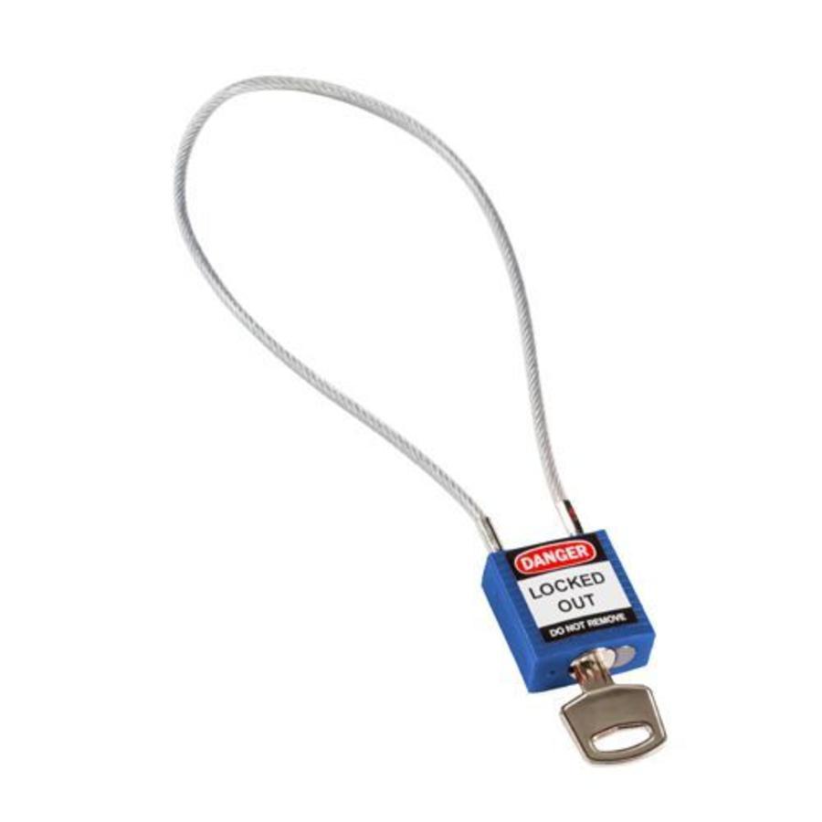 Nylon Sicherheits-vorhängeschloss blau mit Kabelbügel 146122
