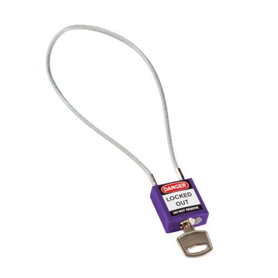 Nylon Sicherheits-vorhängeschloss violett mit Kabelbügel 195938
