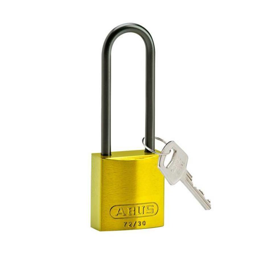 Sicherheitsvorhängeschloss aus eloxiertes Aluminium gelb 834877