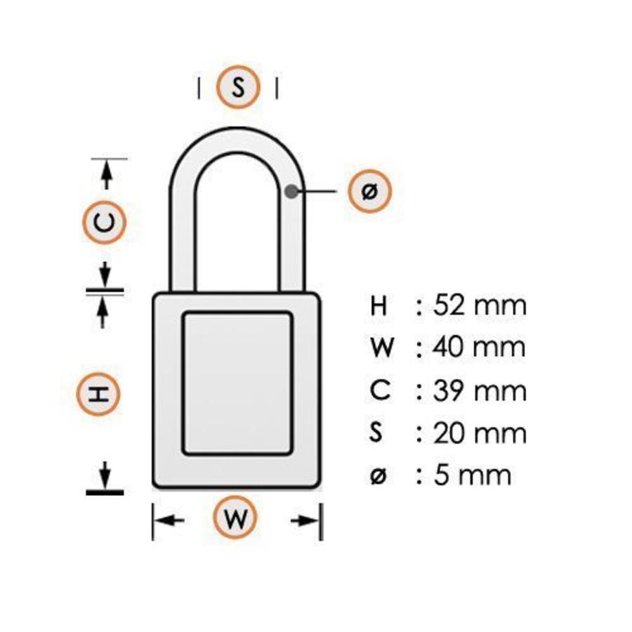 Aluminium Sicherheits-vorhängeschloss mit lila Abdeckung 77573