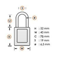 Aluminium Sicherheits-vorhängeschloss mit gelber Abdeckung 58031