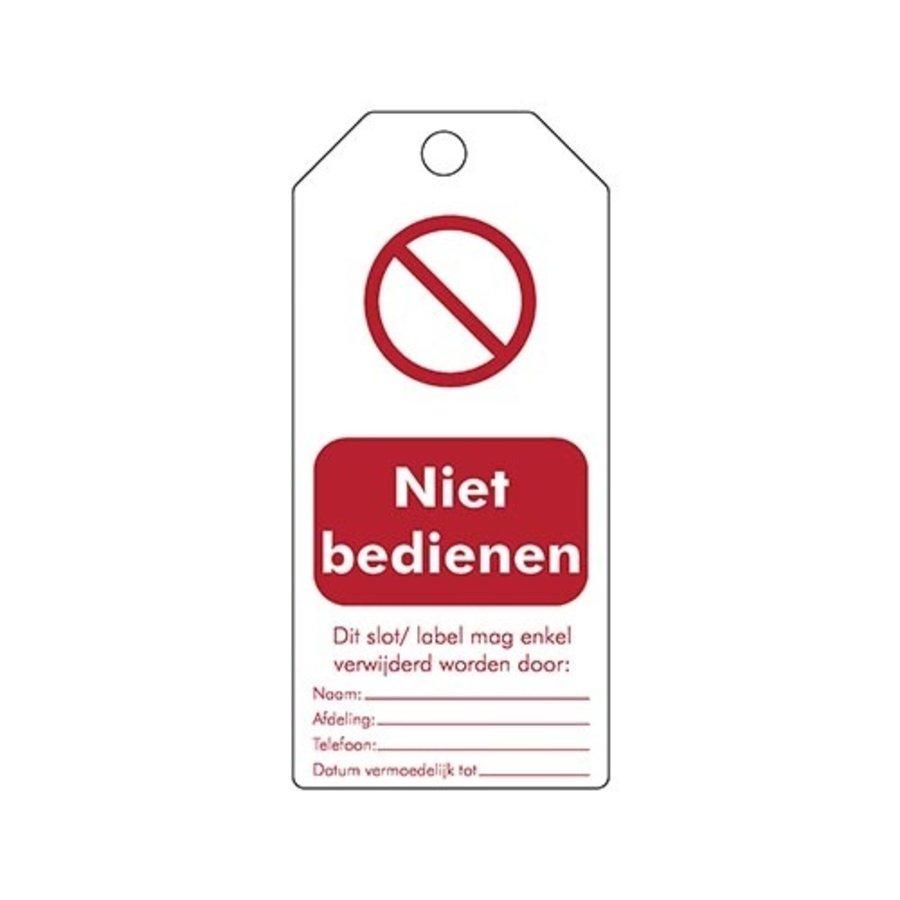 """Wiederbeschreibbare PVC Sicherheitsanhänger Niederländisch """"Niet bedienen"""""""