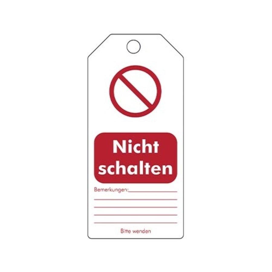 """Wiederbeschreibbare PVC Sicherheitsanhänger Deutsch """"Nicht schalten"""""""