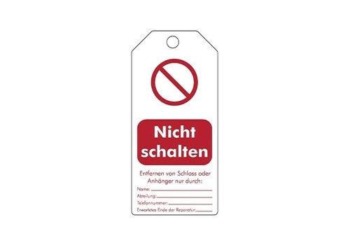 """Wiederbeschreibbare Sicherheitsanhänger Deutsch """"Nicht schalten"""" 307666"""