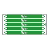 Rohrmarkierer: Sanitary hot water | Englisch | Wasser