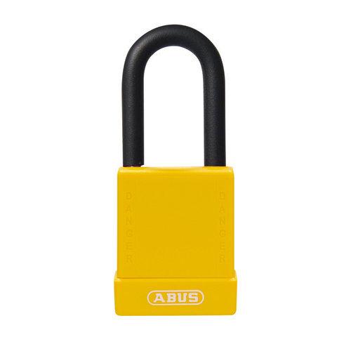 Aluminium Sicherheits-vorhängeschloss mit gelber Abdeckung 76/40 gelb