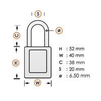 Aluminium Sicherheits-vorhängeschloss mit oranger Abdeckung 84772