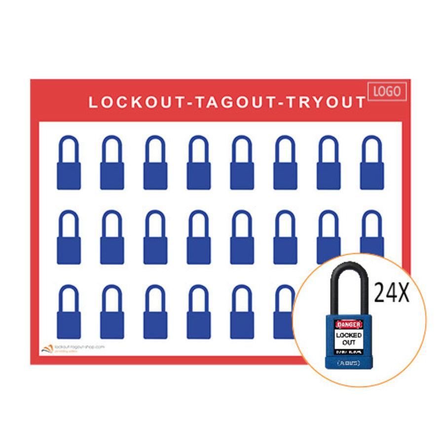 Lockout/Tagout-Shadowboards inkl. Abus 74/40 Vorhängeschlösser