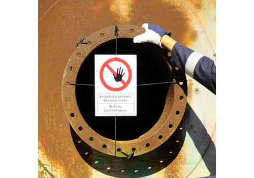 Mannloch-Abdeckung mit Sicherheitszeichen