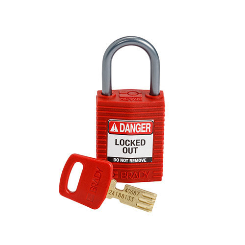 SafeKey Kompakt nylon Sicherheits-vorhängeschloss mit Aluminiumbügel rot 152155