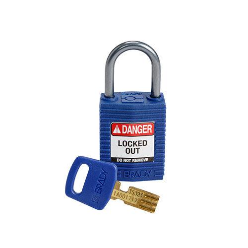 SafeKey Kompakt nylon Sicherheits-vorhängeschloss mit Aluminiumbügel blau 152158