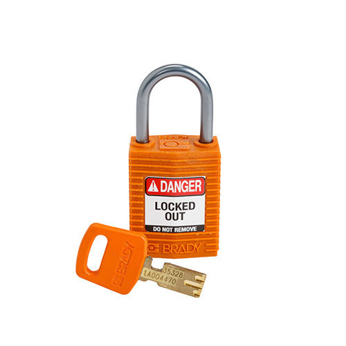SafeKey Kompakt nylon Sicherheits-vorhängeschloss mit Aluminiumbügel orange 152160