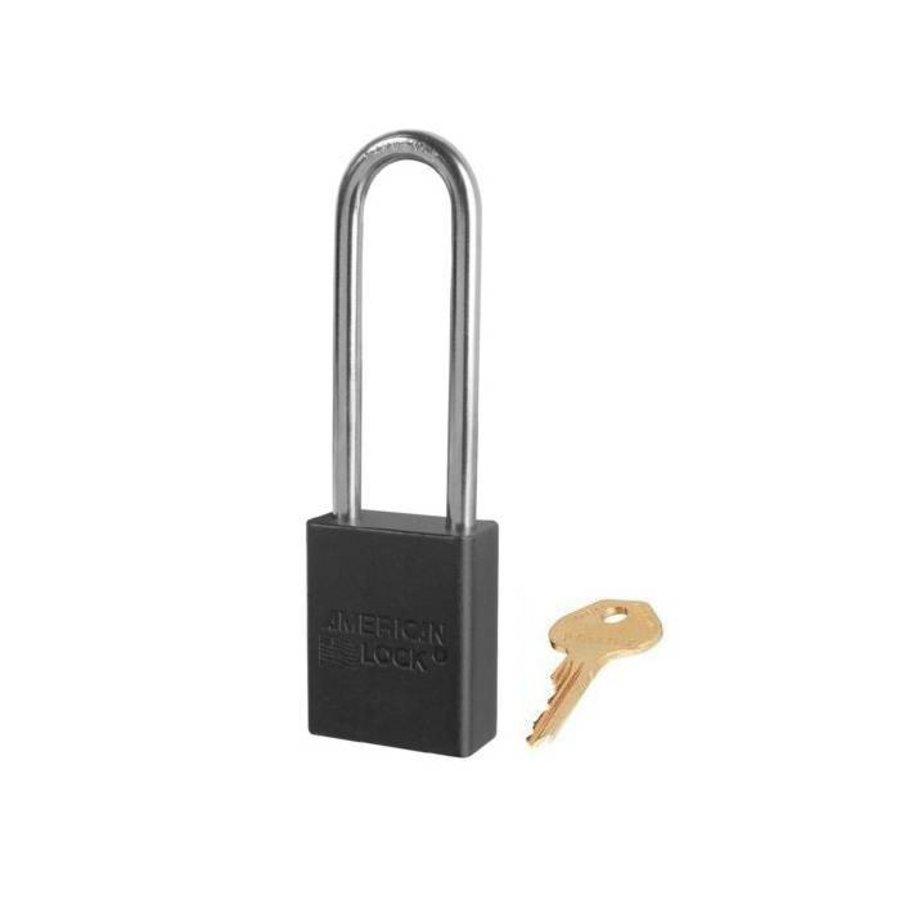 Sicherheitsvorhängeschloss aus eloxiertes Aluminium schwarz S1107BLK
