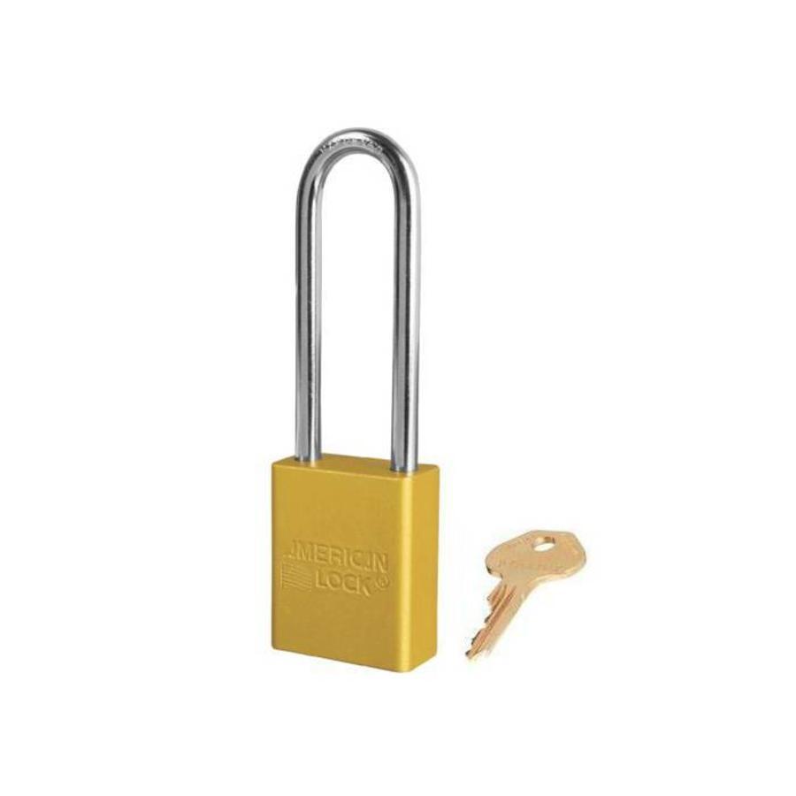 Sicherheitsvorhängeschloss aus eloxiertes Aluminium gelb S1107YLW
