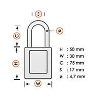 Nylon Kompakte Sicherheits-vorhängeschloss weiss 8141252 - Copy