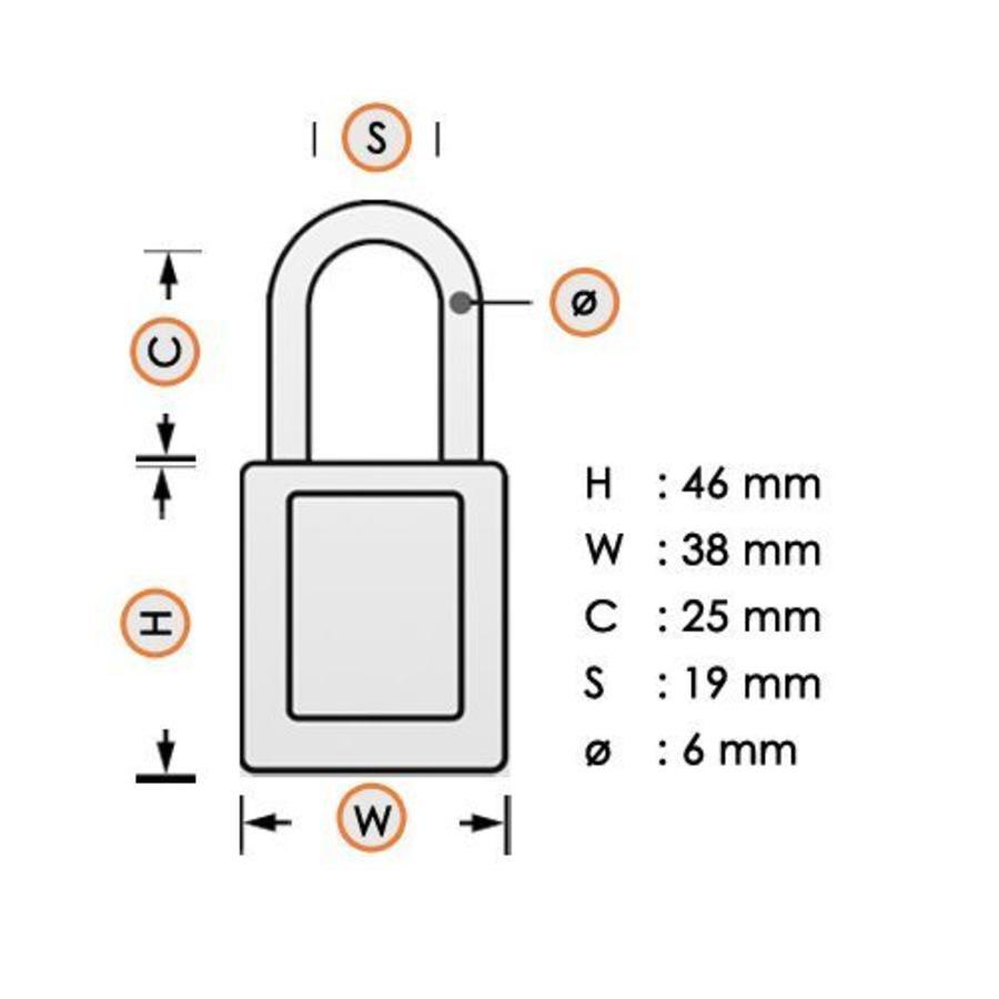Sicherheitsvorhängeschloss aus eloxiertes Aluminium gelb S1105YLW