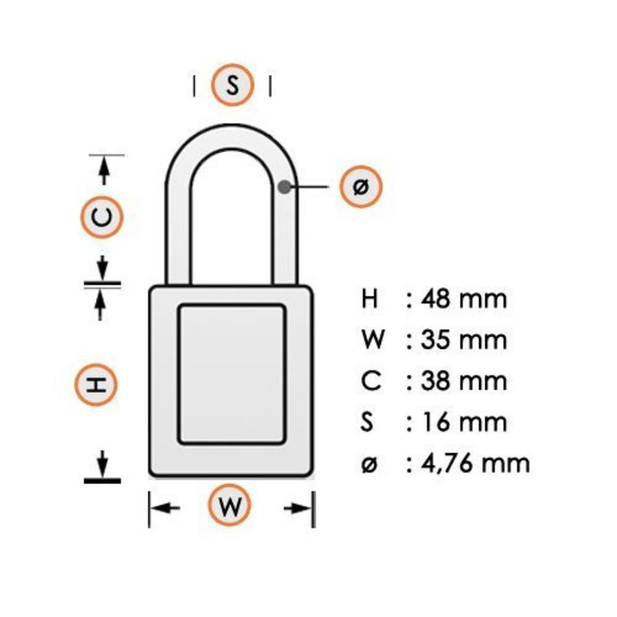 Zenex Sicherheits-vorhängeschloss weiß S32WHT - S32KAWHT