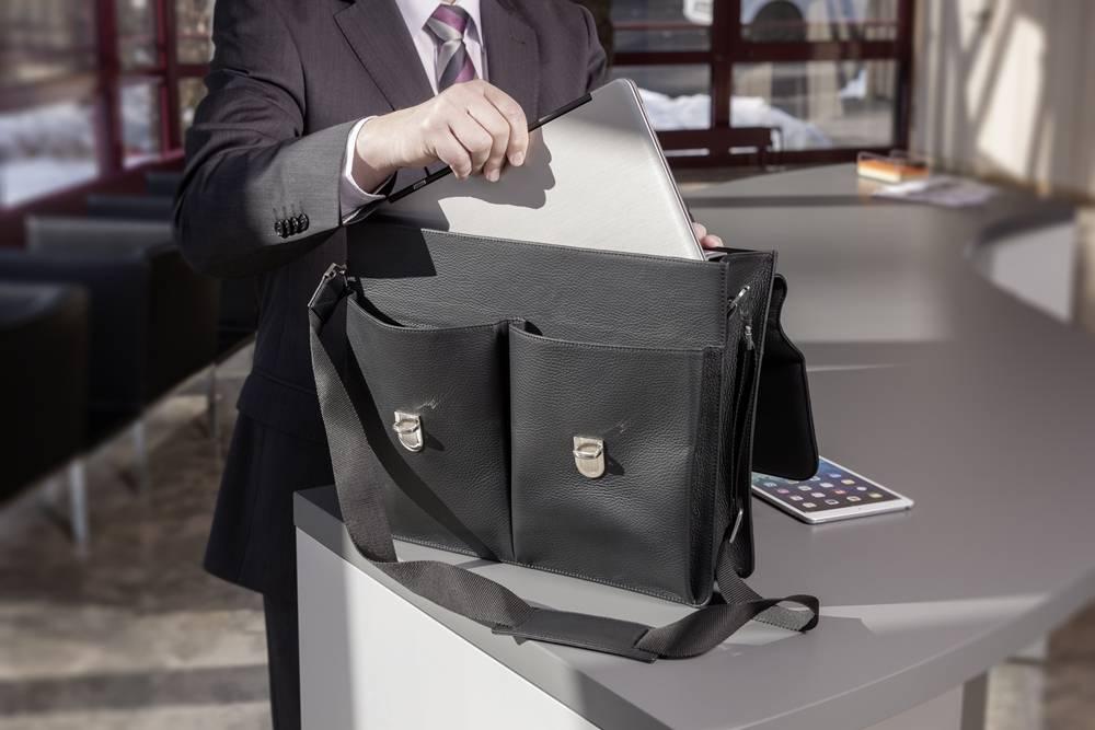 Hochwertige Leder-Businesstasche - Marone
