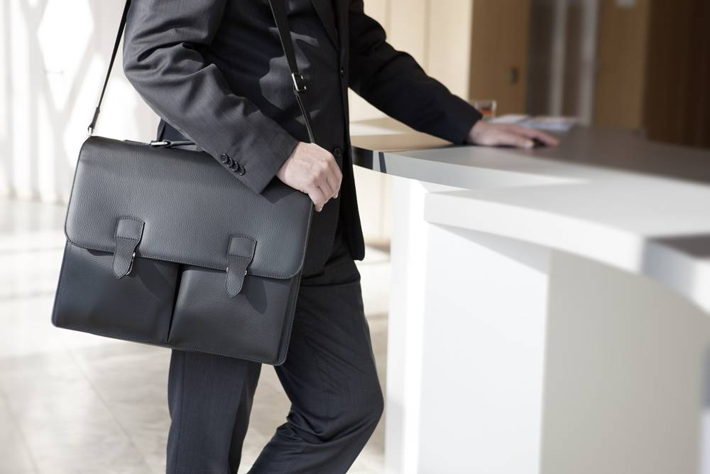 Hochwertige Leder-Businesstasche - Schwarz