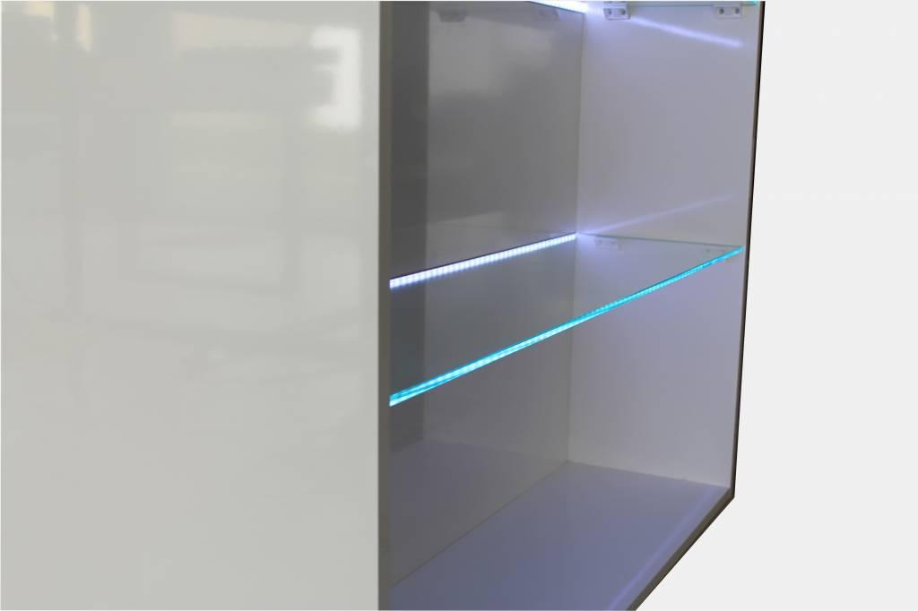 Verkaufsregal Holz/Glas mit LED - Beleuchtung