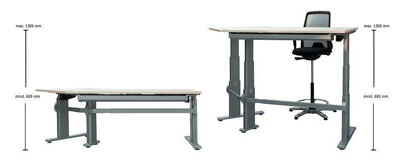 Höhenverstellbarer Eckschreibtisch 135 Grad, Aluminium Tischgestell