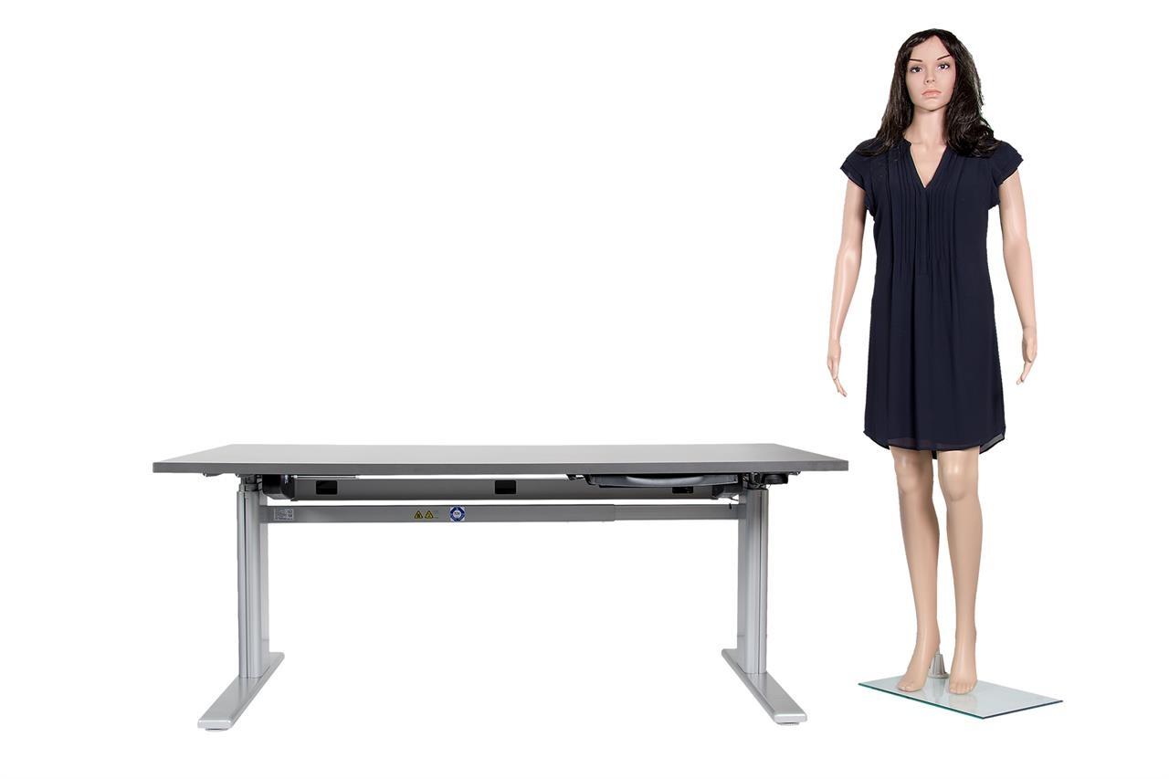 Höhenverstellbarer Schreibtisch / Arbeitstisch mit Alu-Tischgestell