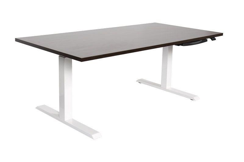 Höhenverstellbarer Schreibtisch / Arbeitstisch mit weißem Tischgestell